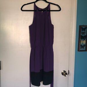 Express Purple/Black Dress With Tie Belt Size S